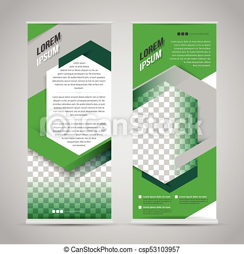 Green roll up banner stand design template.