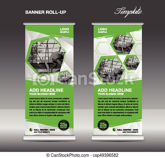 Green Roll Up Banner Template Vector Roll Up Stand Banner Design Flyer Advertisement Polygon Background Poster