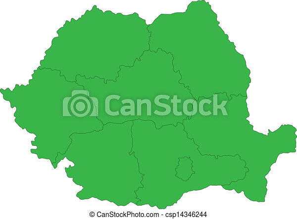 Green romania map Administrative division of the romania eps