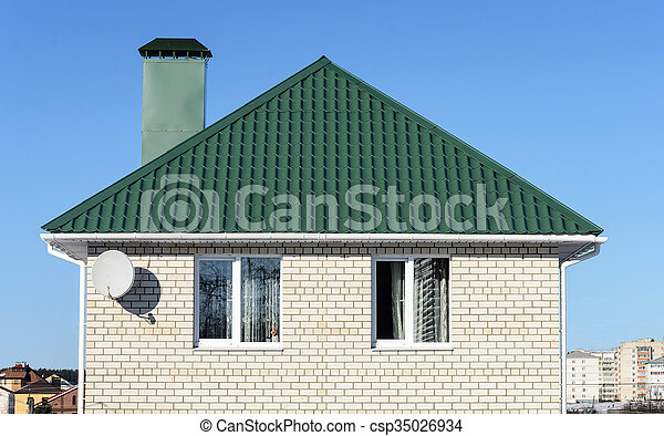 Green Roof Of White Brick House Top Of The New White