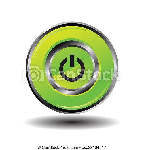 Green round button shut down icon - csp22184517