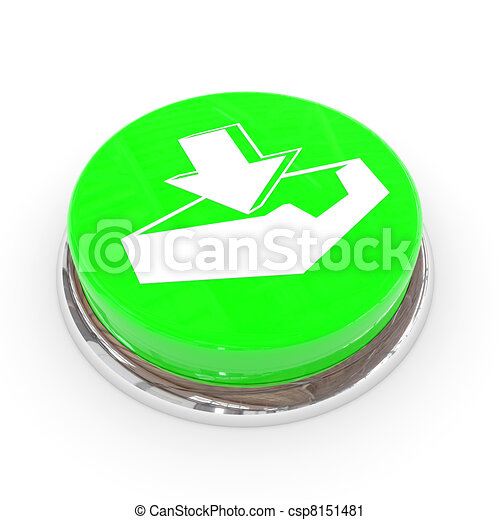 Green round button with download sign. - csp8151481