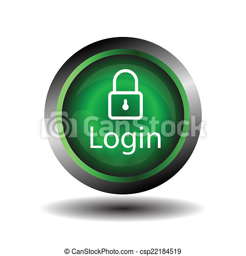 Green round Glossy Login icon - csp22184519