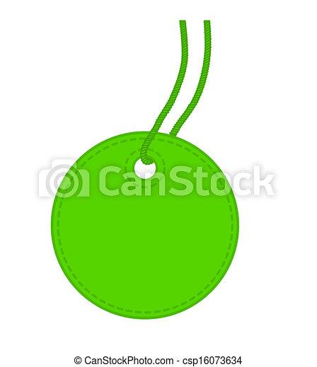 Green, round, tag. - csp16073634