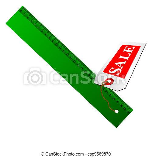 green ruler for sale illustration - csp9569870