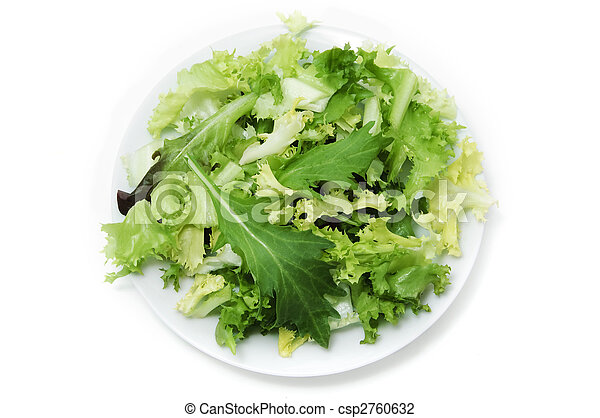 green salad plate on a white background - csp2760632