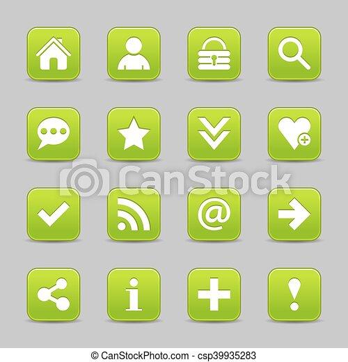 Green satin icon web button with white basic sign - csp39935283