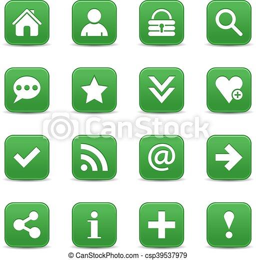 Green satin icon web button with white basic sign - csp39537979