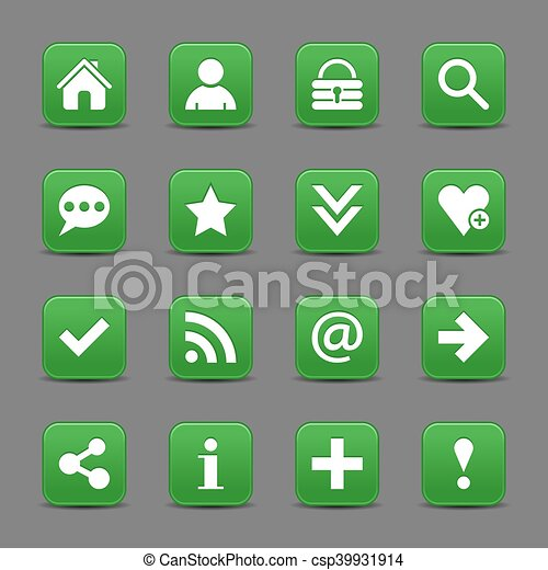 Green satin icon web button with white basic sign - csp39931914
