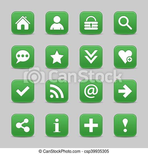 Green satin icon web button with white basic sign - csp39935305