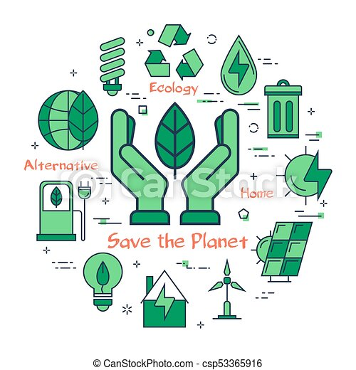 Green Save The Planet Concept Vector Linear Green Round Concept Of