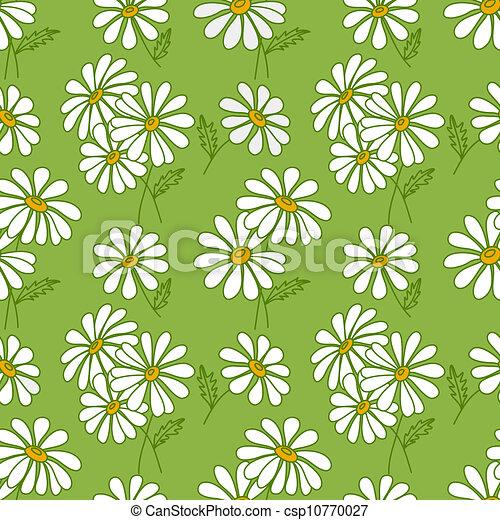 Green seamless daisy pattern. - csp10770027
