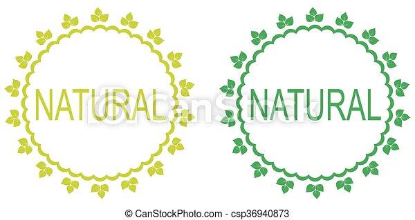 Green set of natural labels.  - csp36940873