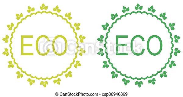 Green set of organic labels.  - csp36940869