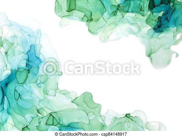 Green shades watercolor background, wet liquid inks - csp84148917