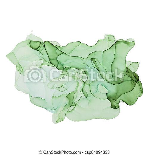 Green shades watercolor background, wet liquid - csp84094333