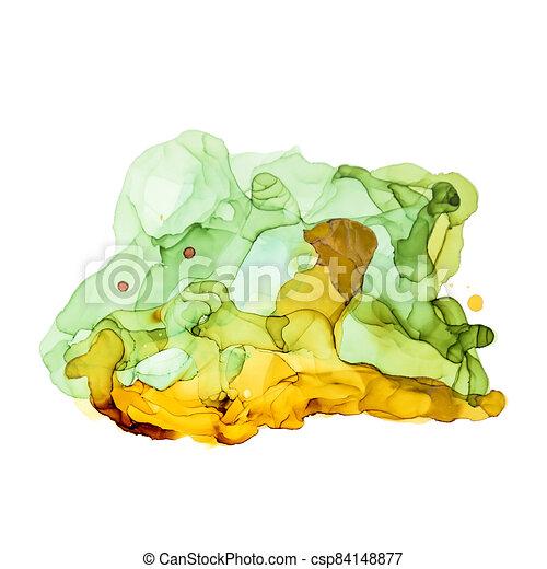 Green shades watercolor background, wet liquid - csp84148877