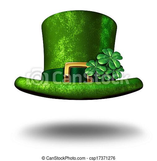 Green Shamrock Top Hat - csp17371276
