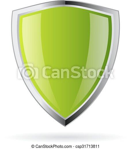 Green shield icon - csp31713811