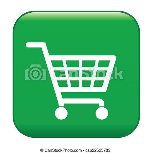 Green shopping basket sign, ecological  shopping - csp22525783