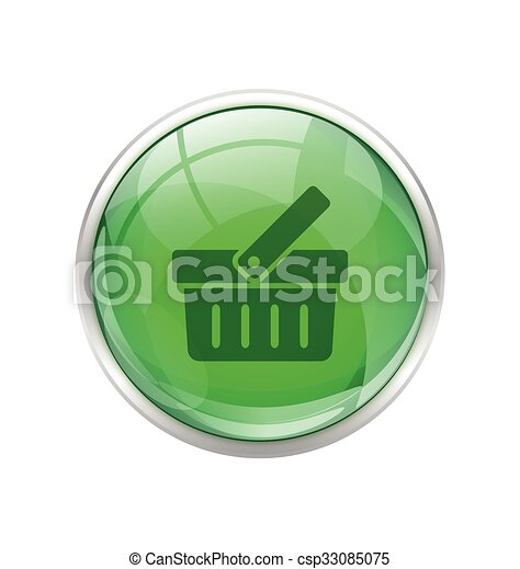 Green shopping cart button - csp33085075