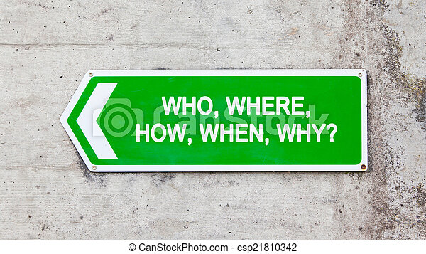 Green sign - Who where how when why - csp21810342