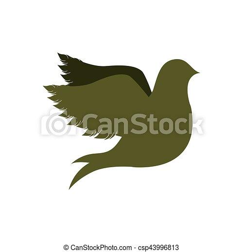 green silhouette fly bird icon flat - csp43996813