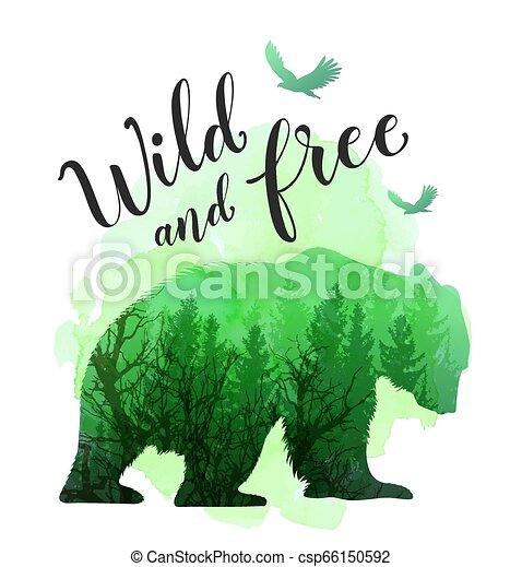 Green silhouette of a wild bear - csp66150592
