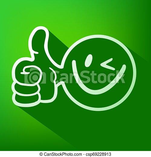 green smile face icon - csp69228913
