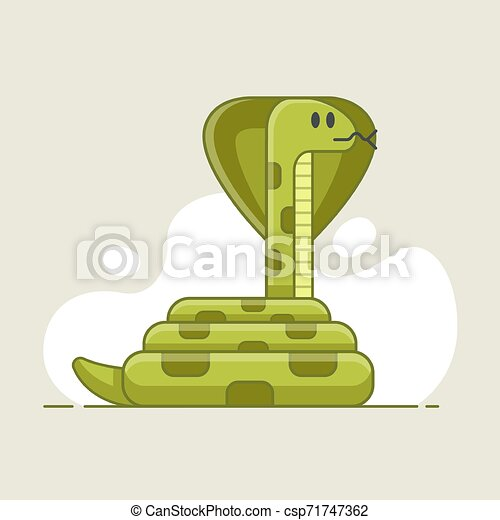 green snake that looks prey. dangerous - csp71747362
