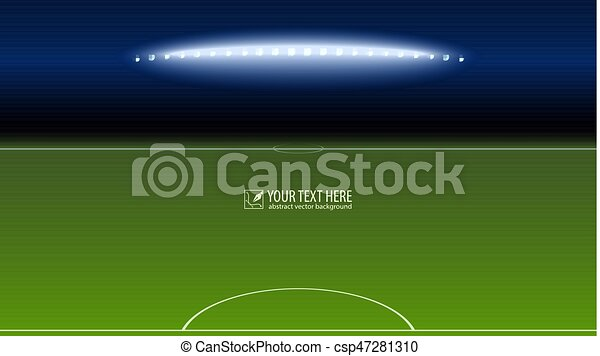 Green soccer field from the goalkeeper area with the spotlights with copy-space for your text or message. Lighted football field, horizontal image with aspect HD video - csp47281310