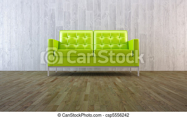 Green Sofa In Minimal Style   Csp5556242