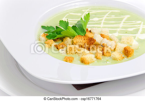 Green soup with croutons - csp16771764