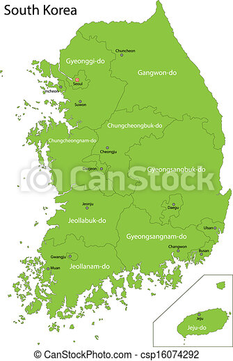 Green South Korea Map Map Of Administrative Divisions Of Eps - South korea map vector