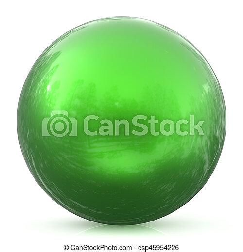 Green sphere ball round button basic circle geometric shape - csp45954226