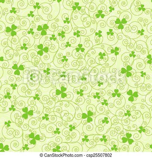 Green spirals and clover backgrounds - csp25507802