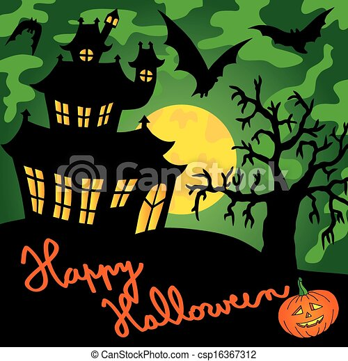 Green spooky house 01 - csp16367312