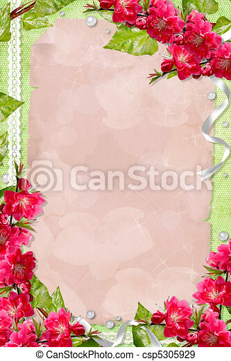 Green spring background with card,  flowers and frames  - csp5305929