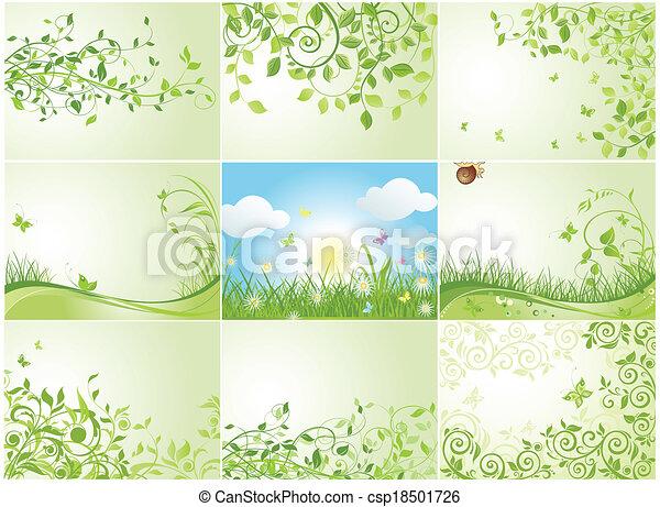 Green Spring Backgrounds Vector Illustration