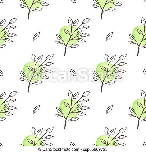 Green spring floral seamless pattern. Hand drawn doodle green ...