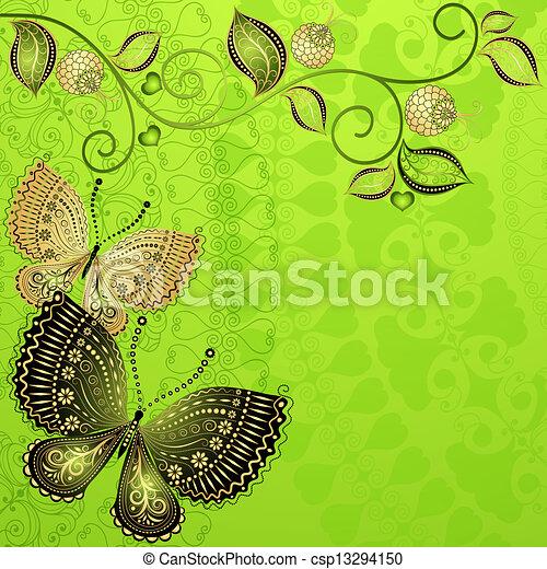 Green spring vintage floral frame - csp13294150