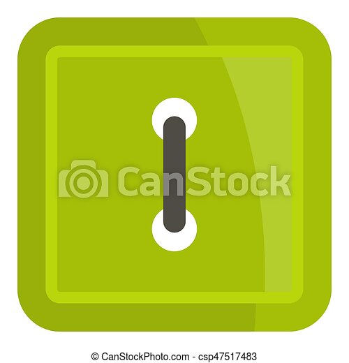 Green square clothing button icon isolated - csp47517483