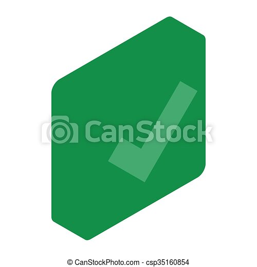 Green square element icon, isometric 3d style - csp35160854