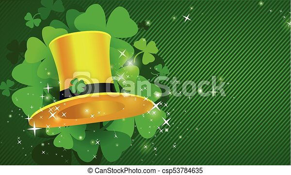 Green St. Patrick's day background with hat and clover - csp53784635