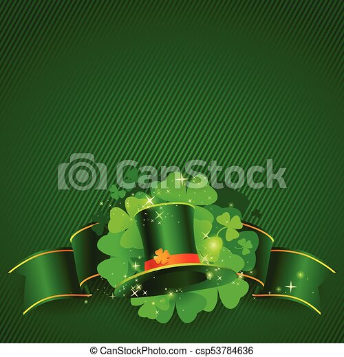 Green St. Patrick's day background with hat and clover - csp53784636