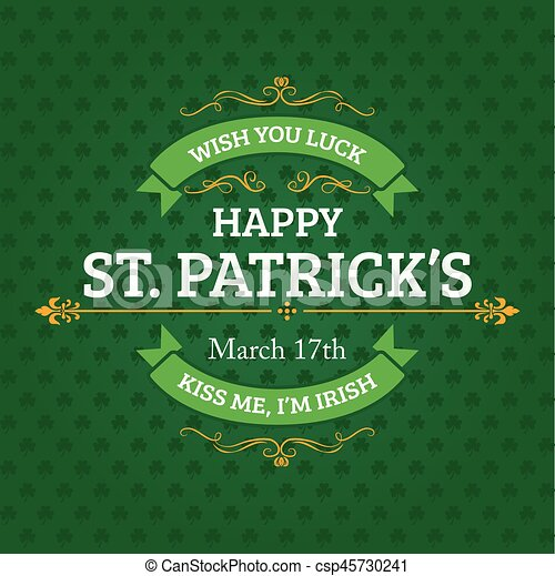 Green St. Patrick's Day Typography Banner - csp45730241
