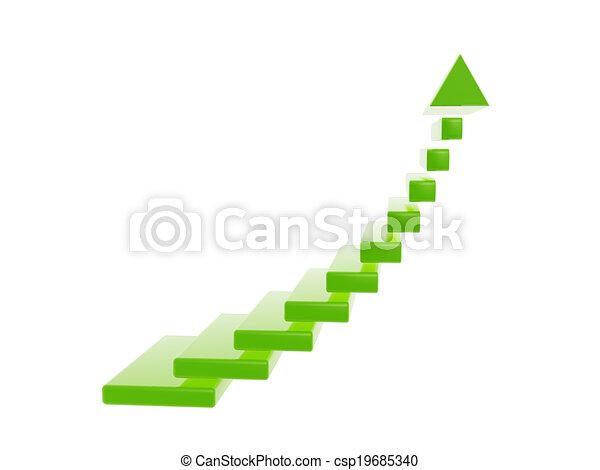 green stair steps grow up arrow - csp19685340