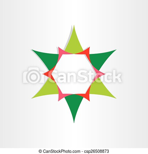 green star with text box design element - csp26508873