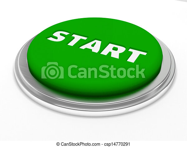 Green start button isolated - csp14770291