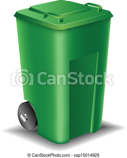 Green Street Trash Can Isolated On White